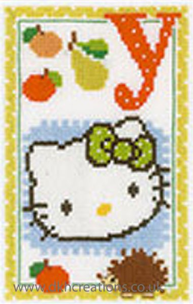 Hello Kitty Alphabet Letter Y Cross Stitch Kit